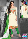 NS12223 Ivory and Green Straight Suit