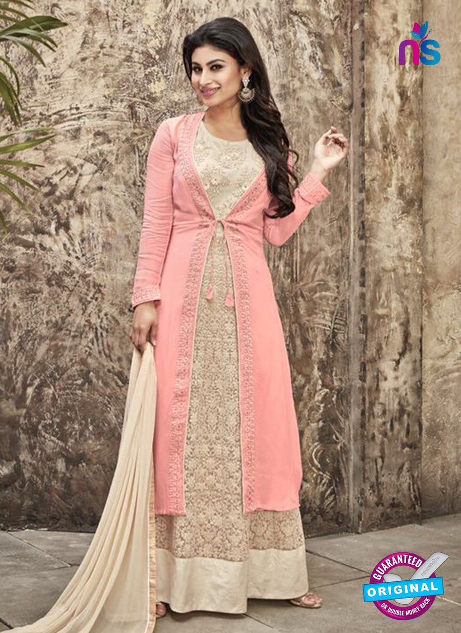 SC 12299 Peach and Beige Embroidered Semi Georgette Party Wear Gawn