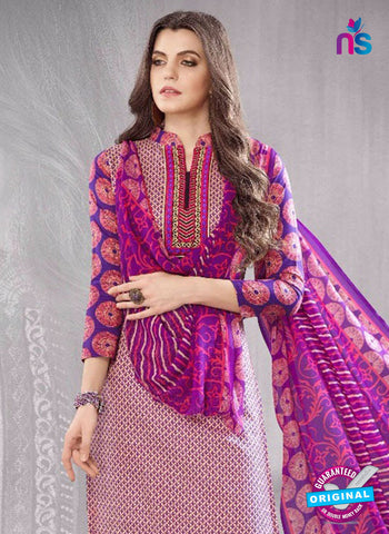 SC 13612 Magenta and Purple Printed Cotton with Embroidery Work Straight Suit