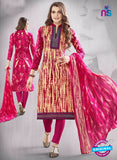 SC 13611 Beige and Pink Printed Cotton with Embroidery Work Straight Suit