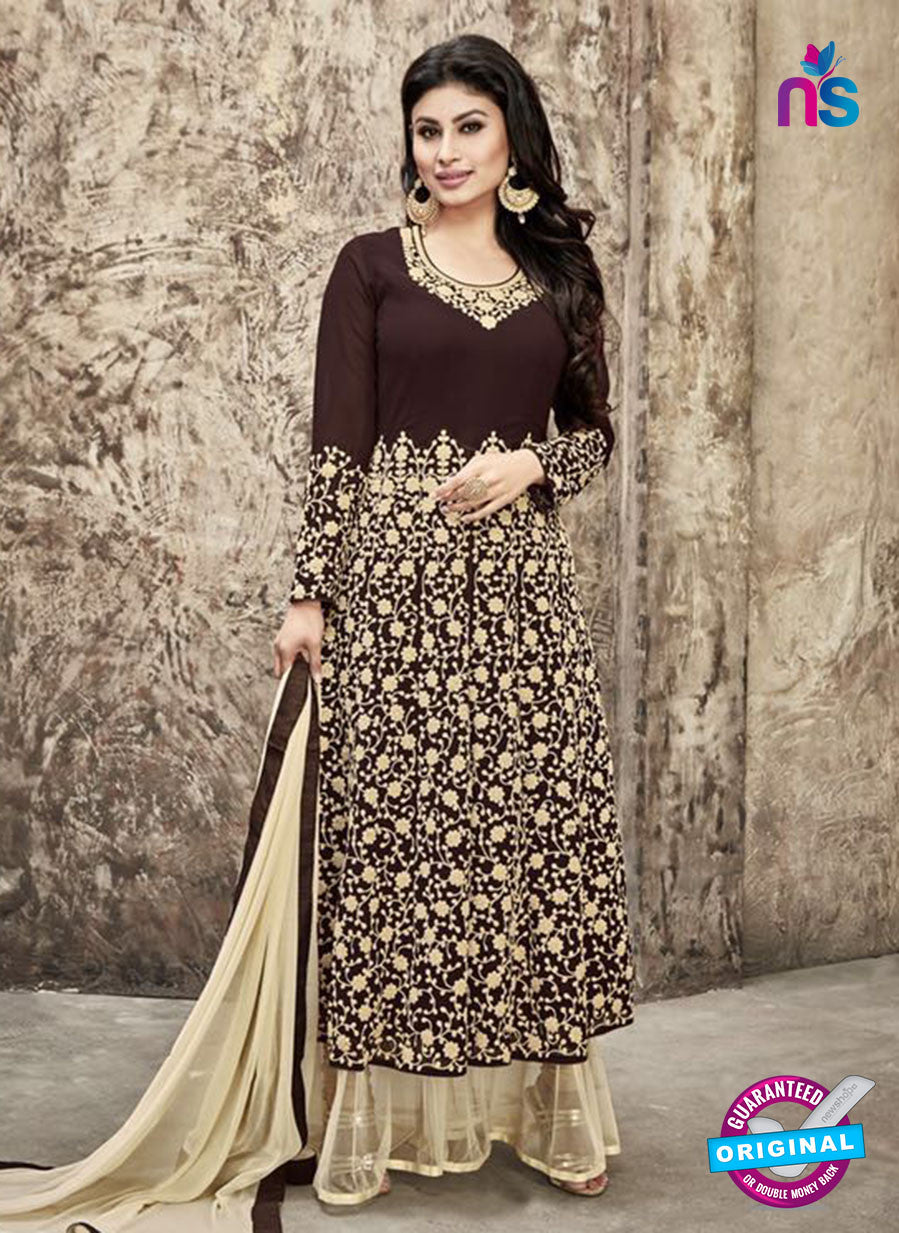 SC 12298 Brown and Beige Embroidered Semi Georgette Party Wear Designer Suit