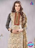 SC 13610 Beige and Black Printed Cotton with Embroidery Work Straight Suit