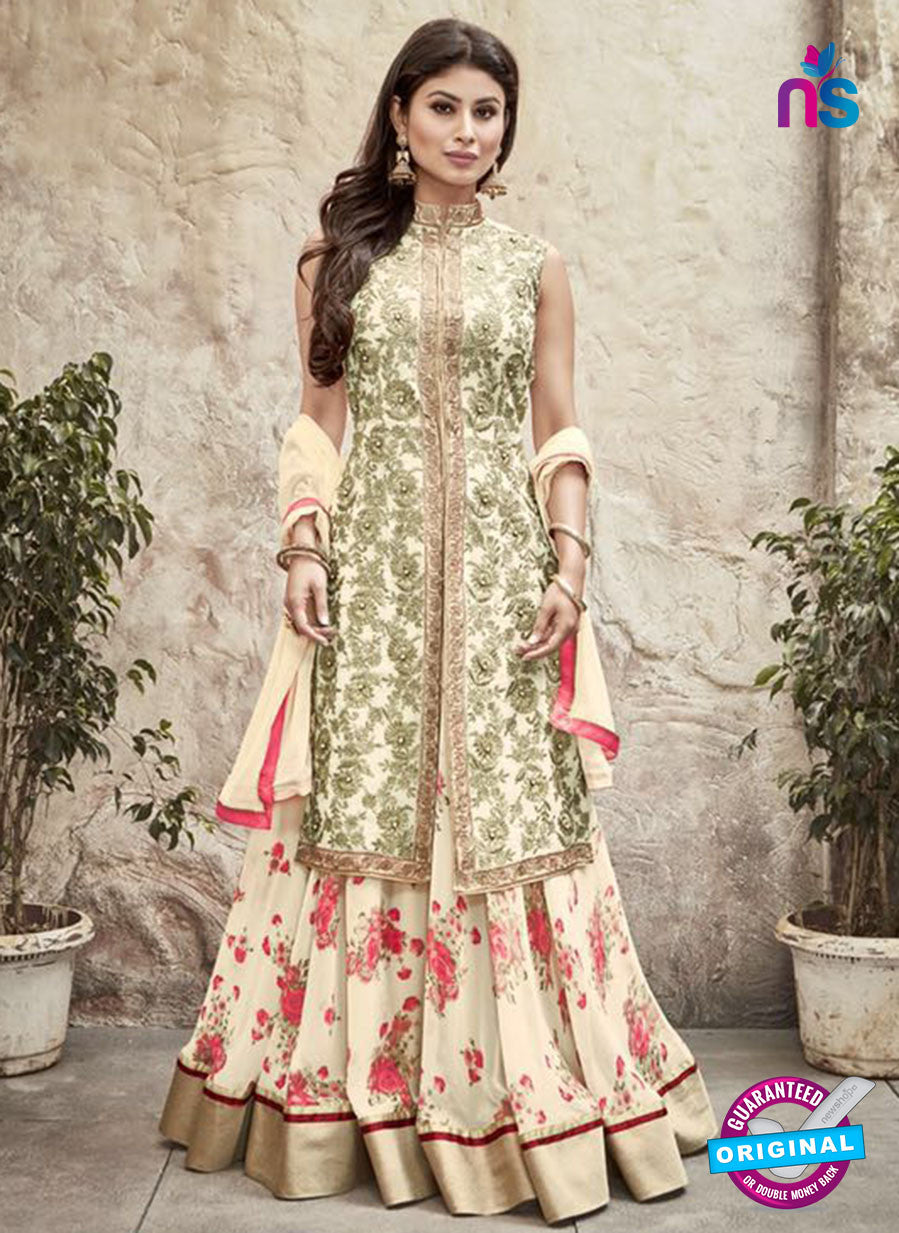 SC 12300 Beige and Green Embroidered Semi Georgette Party Wear Lehenga