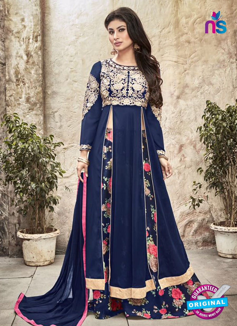 SC 12297 Blue and Multicolor Embroidered Semi Georgette Party Wear Gawn