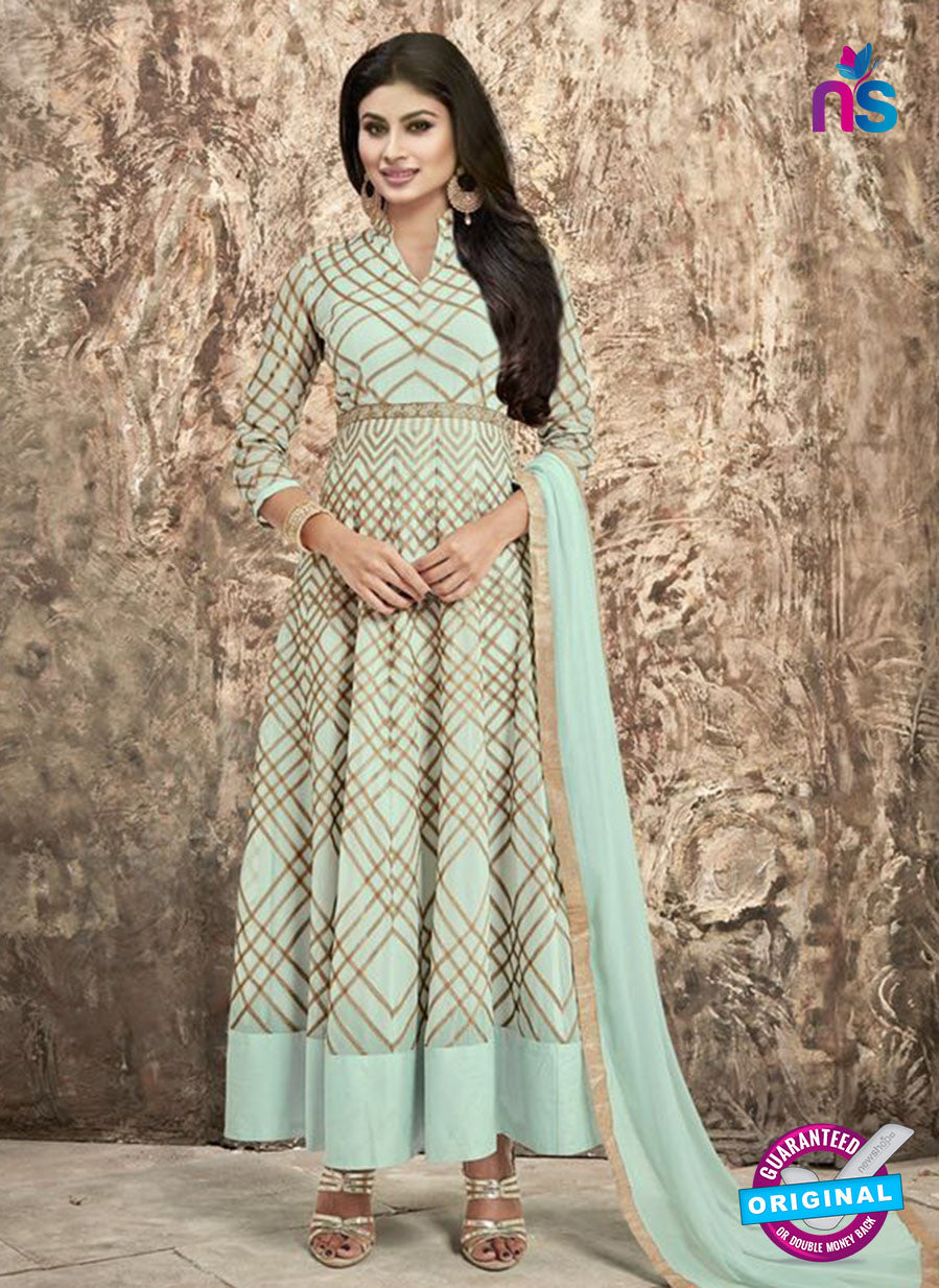SC 12293 Sky Blue and Brown Embroidered Semi Georgette Party Wear Anarkali Suit