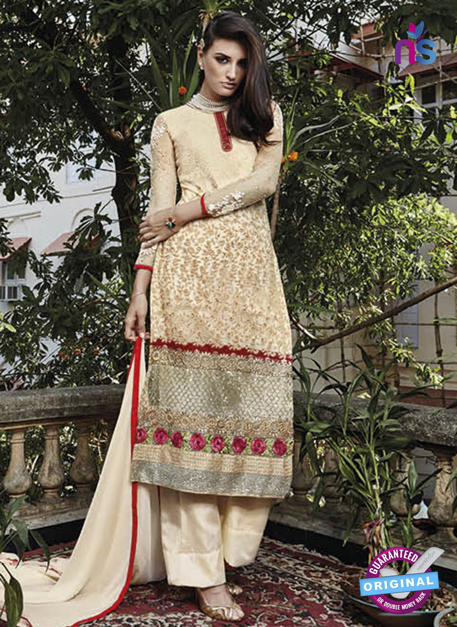 NS10318 Beige Party Wear Faux Georgette or Net Designer Straight Suit