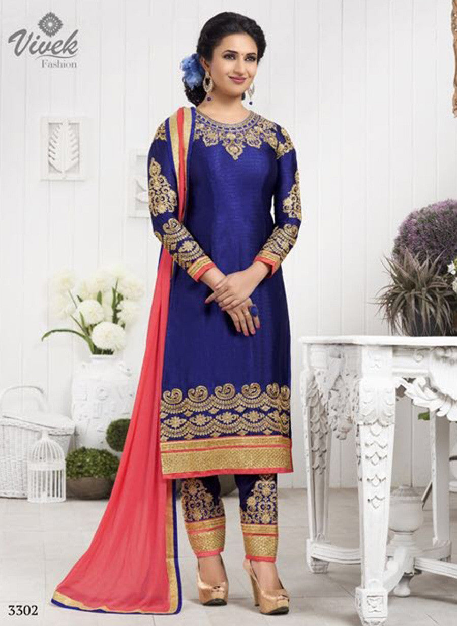 Vivek 3302 Blue Color Georgette Designer Suit