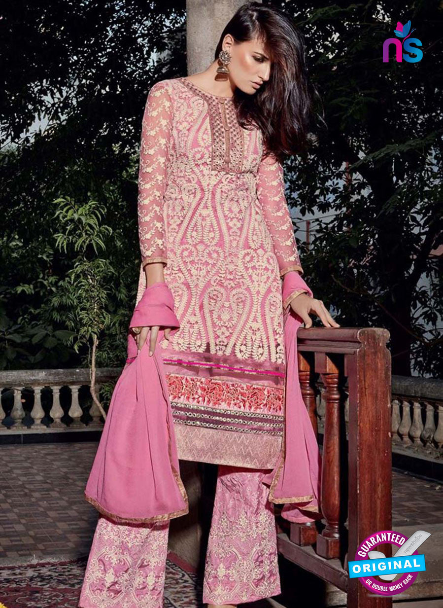 NS10319 Pink Party Wear Faux Georgette or Net Designer Straight Suit