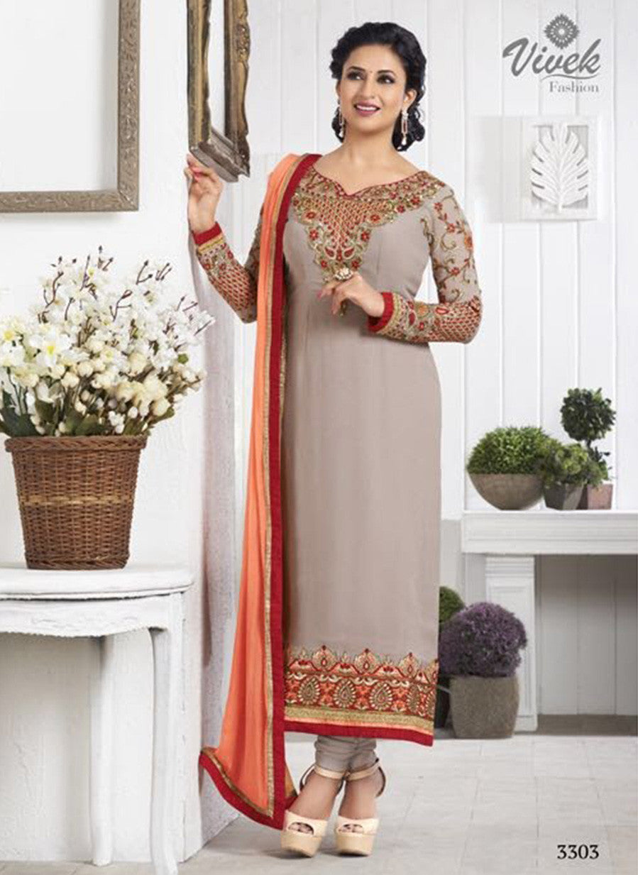 Vivek 3303 Grey Color Georgette Designer Suit