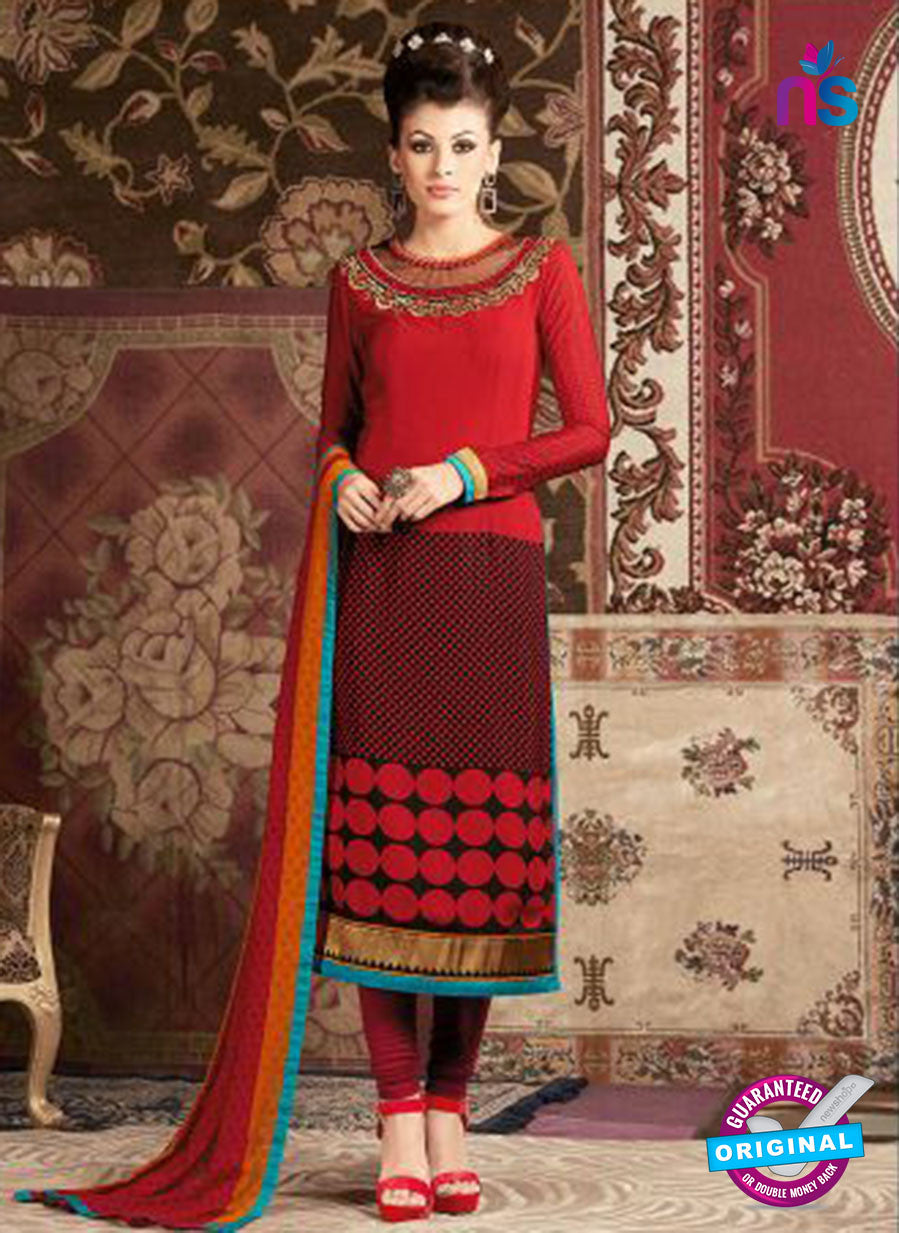 AZ 3674 Red Crepe Pakistani Suit