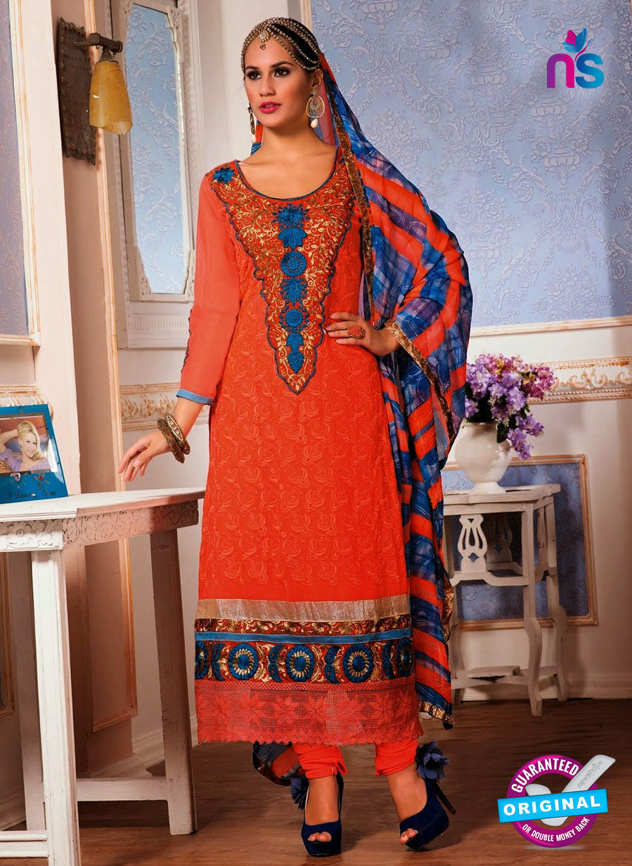 NS10148 Orange and Blue Party Wear Georgette Straight Suit