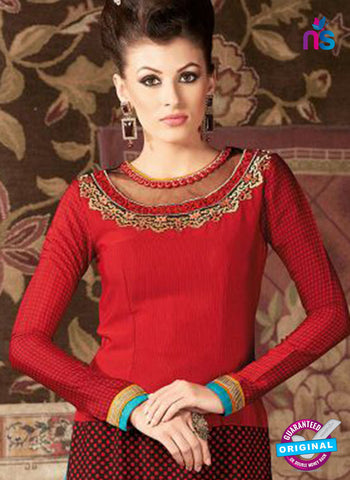 AZ 3674 Red Crepe Pakistani Suit Online