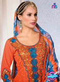 NS10148 Orange and Blue Party Wear Georgette Straight Suit Online