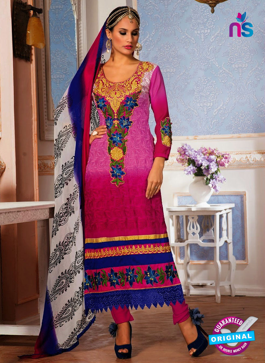 NS10149 Pink and Blue Party Wear Georgette Straight Suit