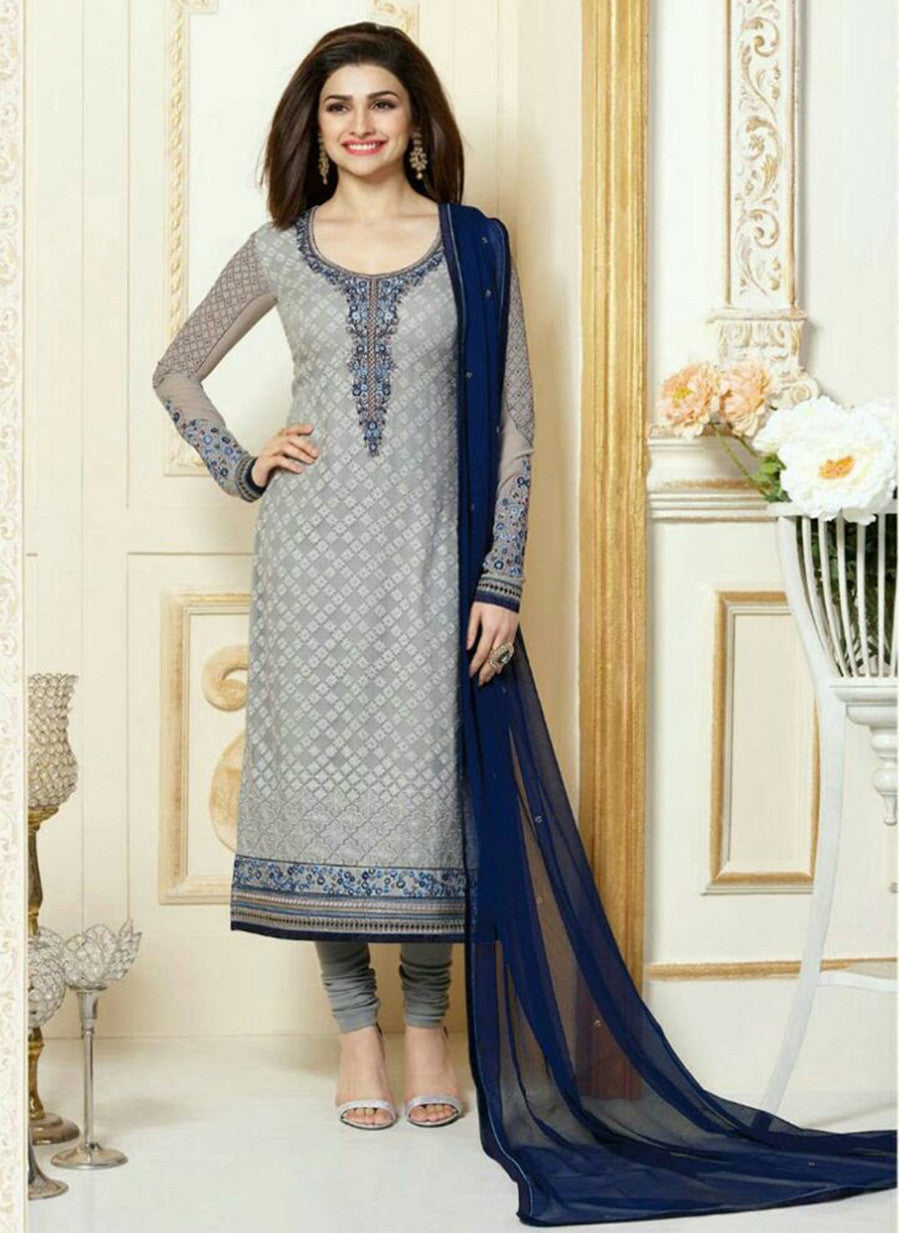Vinay Fashion 3308 Grey & Blue Color Georgette Designer Suit