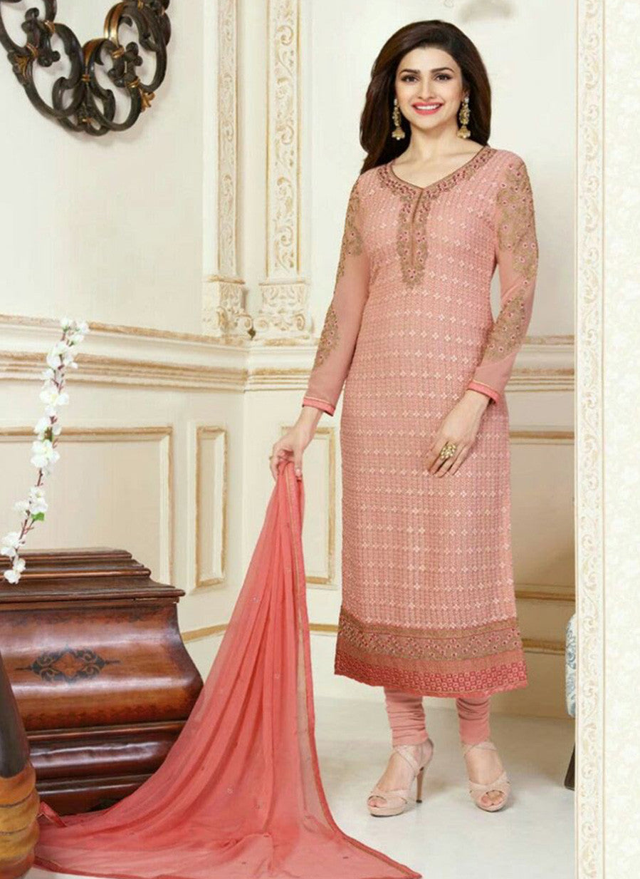 Vinay Fashion 3309 Peach Color Georgette Designer Suit