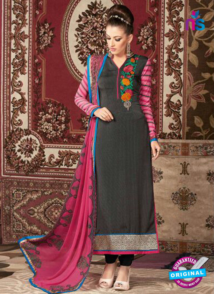 AZ 3677 Black Crepe Pakistani Suit