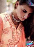 NS10323 Ivory and Orange Party Wear Faux Georgette or Net Designer Straight Suit Online