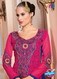 NS10150 Pink and Blue Party Wear Georgette Straight Suit Online