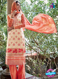NS10323 Ivory and Orange Party Wear Faux Georgette or Net Designer Straight Suit