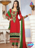 NS10151 Red and Green Party Wear Georgette Straight Suit