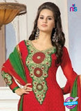 NS10151 Red and Green Party Wear Georgette Straight Suit Online