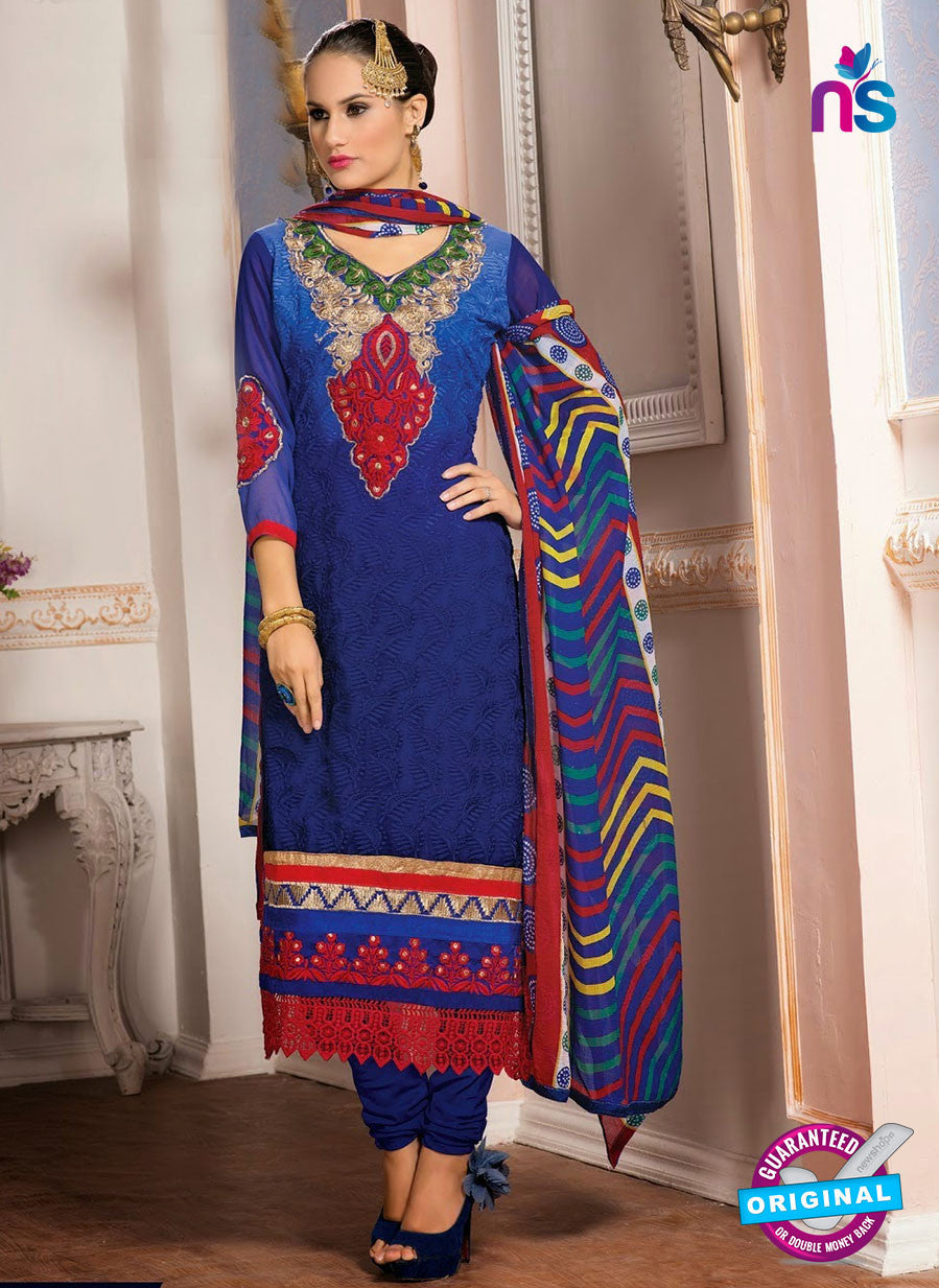 NS10153 Blue Party Wear Georgette Straight Suit