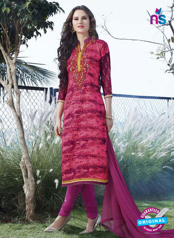 SC 12904 Pink and Magenta Printed Embroidered Glace Cotton Straight Suit