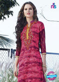 SC 12904 Pink and Magenta Printed Embroidered Glace Cotton Straight Suit Online