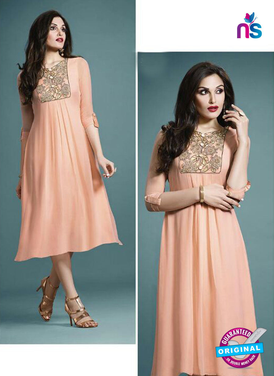 Vanay Fashion 33277 Peach Designer Georgette Fancy Exclusive Party Wear XL Size Stitched Tunic