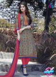 SC 12910 Multicolor and Pink Printed Embroidered Glace Cotton Straight Suit