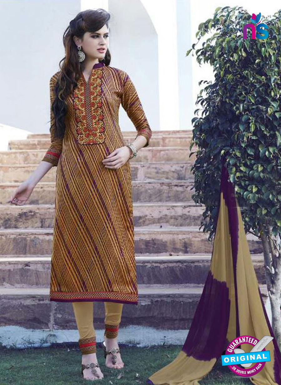 SC 12908 Multicolor and Beige Printed Embroidered Glace Cotton Straight Suit