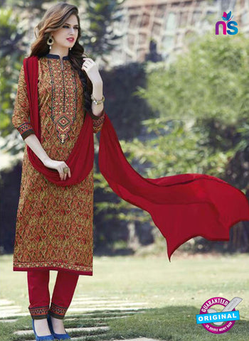 SC 12905 Multicolor and Red Printed Embroidered Glace Cotton Straight Suit