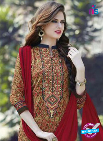SC 12905 Multicolor and Red Printed Embroidered Glace Cotton Straight Suit Online