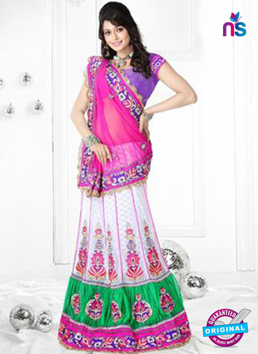 NS12270 Pink and White Designer Saree