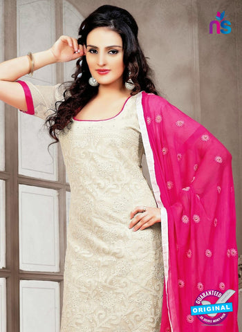 NS12224 Ivory and Magenta Chudidar Suit