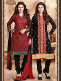 NS11719 Red and Black Cotton Straight Suit
