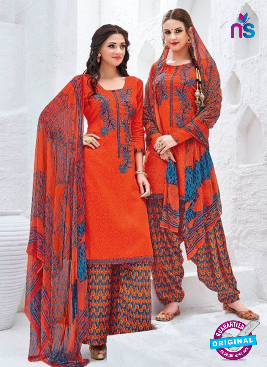 Kalakirti 3401 Orange Glace Cotton Patiala Suit