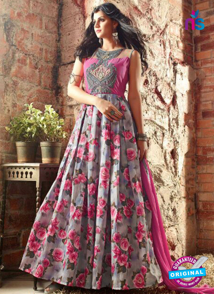 Maskeen 3402 Grey and Pink Banarasi Silk Fancy Designer Gawn