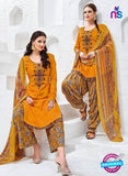 Kalakirti 3402 Yellow Glace Cotton Patiala Suit