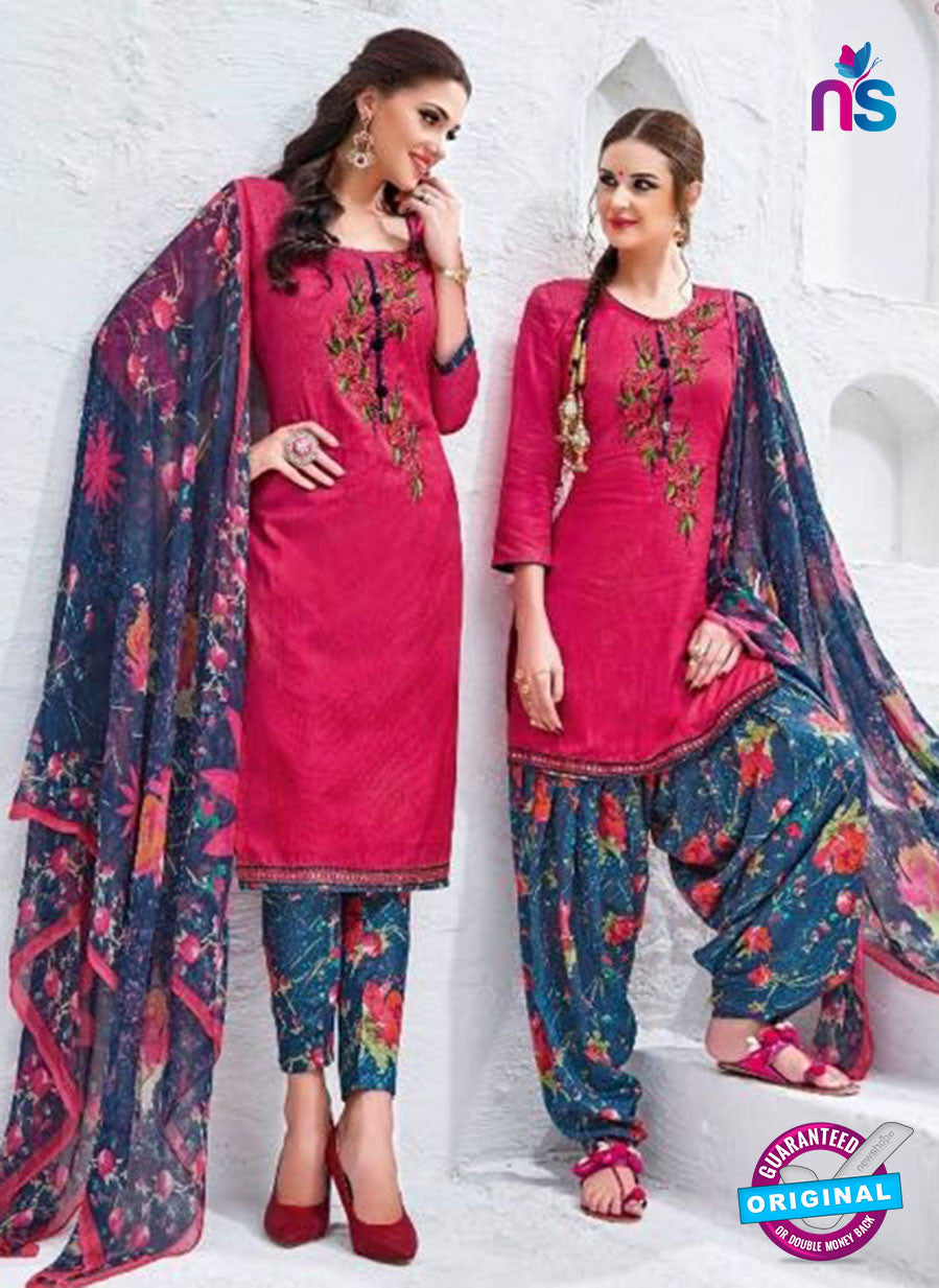 Kalakirti 3403 Pink Glace Cotton Patiala Suit