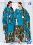 Kalakirti 3404 Sky Blue Glace Cotton Patiala Suit