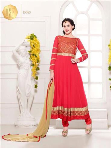 NS11910  Red Party Wear Georgette Anarkali Suit