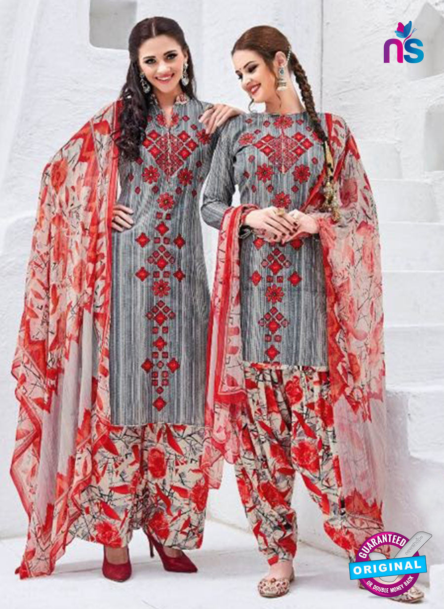 Kalakirti 3407 Grey Glace Cotton Patiala Suit