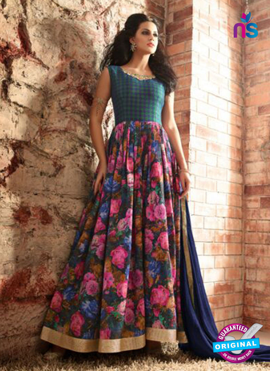 Maskeen 3408 Blue and Multicolor Banarasi Silk Fancy Designer Gawn