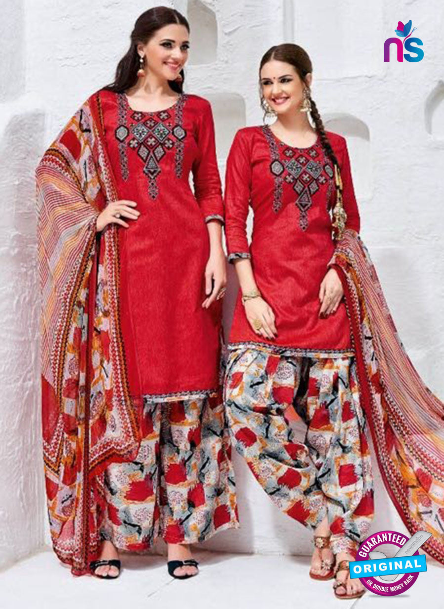 Kalakirti 3409 Red Glace Cotton Patiala Suit
