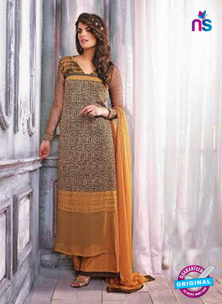 Ganga 3433 Yellow and Brown Color Georgette Designer Straight Suit