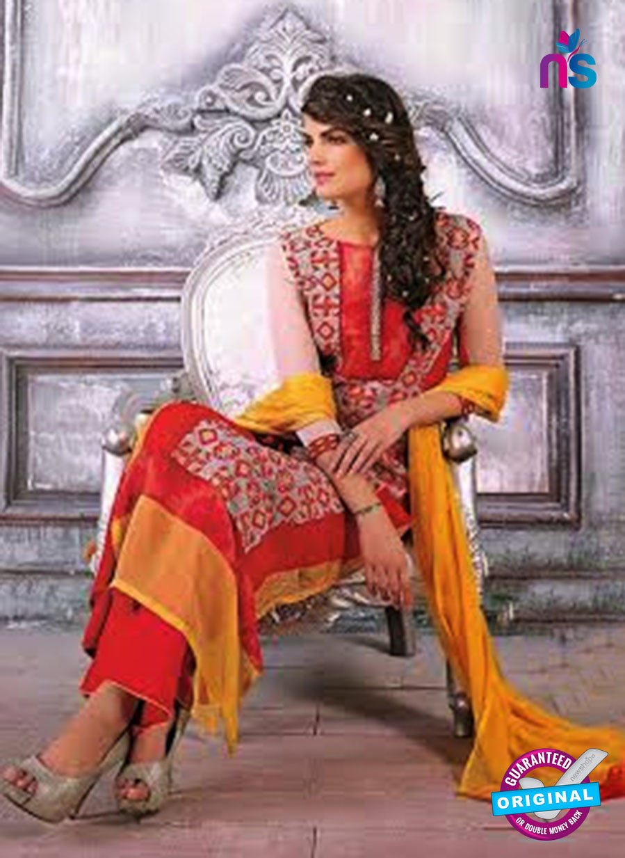 Ganga 3434 Red and Yellow Color Georgette Designer Straight Suit