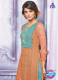 Ganga 3435 Orange and Green Color Georgette Designer Straight Suit