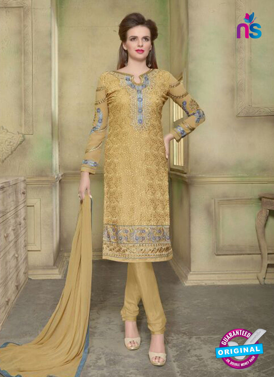 SC 12350 Golden Georgette with Schiffli Work Party Wear Straight Suit